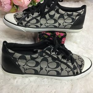 Coach black and white canvas/leather sneakers